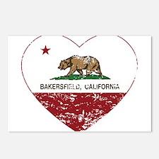 california flag bakersfield heart distressed Postc