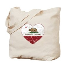 california flag bakersfield heart distressed Tote