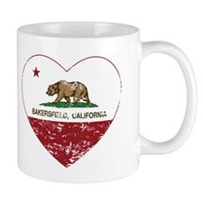 california flag bakersfield heart distressed Mugs