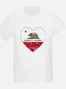 california flag bakersfield heart distressed T-Shi