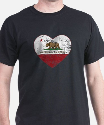 california flag bakersfield heart distressed T-Shi