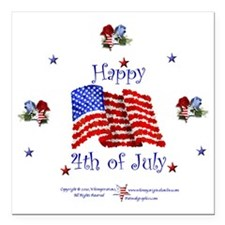 "Happy4th1 Square Car Magnet 3"" x 3"""