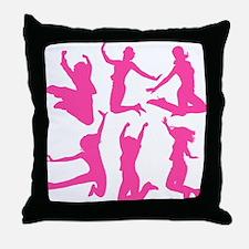 pink dancing girls Throw Pillow