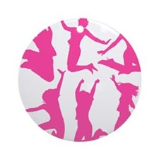 pink dancing girls Round Ornament