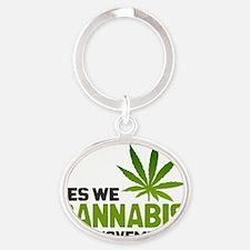 Cannabis Post Oval Keychain
