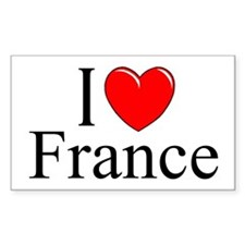 """""""I Love France"""" Rectangle Decal"""