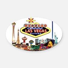 Vegas Nite Lites Oval Car Magnet