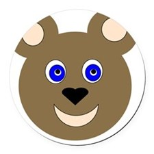 Bear Face Round Car Magnet