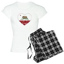 california flag modesto heart distressed Pajamas