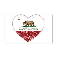 california flag modesto heart distressed Car Magne