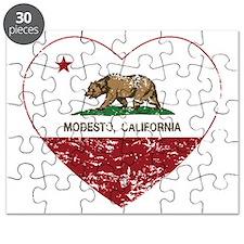 california flag modesto heart distressed Puzzle