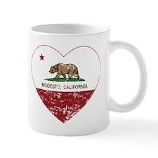 california flag modesto heart distressed Mugs