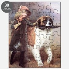 girl with umbrella and newf Puzzle