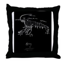 crayfishBlackJPG Throw Pillow