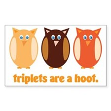 Triplets are a hoot orange Decal