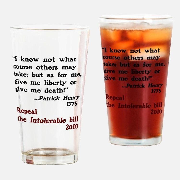 Patrick Henry Intolerable Bill Drinking Glass