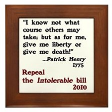 Patrick Henry Intolerable Bill Framed Tile