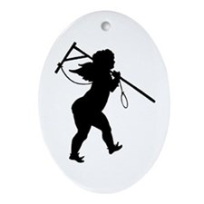 Cupid Meets Reality Oval Ornament