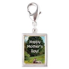 Mothers Day Card Silver Portrait Charm