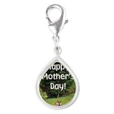 Mothers Day Card Silver Teardrop Charm