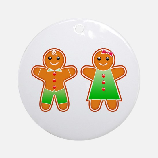 Gingerbread Couple Ornament (Round)