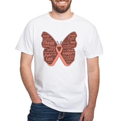 Butterfly Uterine Cancer White T-Shirt