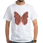 Butterfly Uterine Cancer White T-Shirt