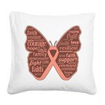 Butterfly Uterine Cancer Square Canvas Pillow