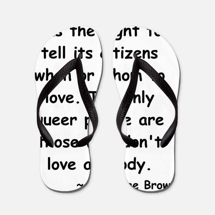queer love long black Flip Flops