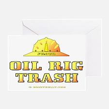 Oil Rig Trash Gold A4 use trnsp Greeting Card
