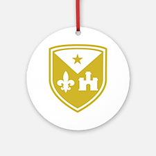 Cadien shield logo gold-simple fina Round Ornament