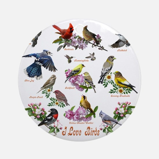 12 X T birds copy Round Ornament