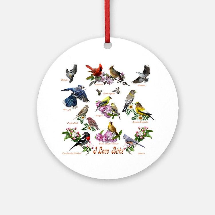 12 X T birds copy Round Ornament