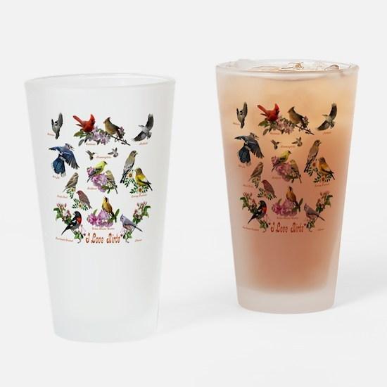 12 X T birds copy Drinking Glass