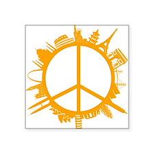 """world peace orange Square Sticker 3"""" x 3"""""""