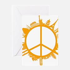 world peace orange Greeting Card