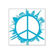 """world peace cyan Square Sticker 3"""" x 3"""""""
