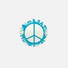 world peace cyan Mini Button