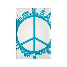 world peace cyan Rectangle Magnet