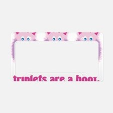 Triplets are a hoot pink fuzz License Plate Holder