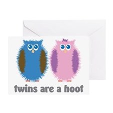 Twin Owls Blue Pink Greeting Card