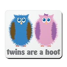Twin Owls Blue Pink Mousepad