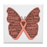 Uterine Cancer Butterfly Collage Of Words Tile Coa