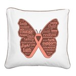 Uterine Cancer Butterfly Collage Of Words Square C