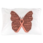 Uterine Cancer Butterfly Collage Of Words Pillow C
