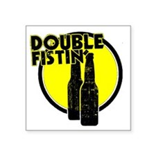 "2-DoubleFisting Square Sticker 3"" x 3"""