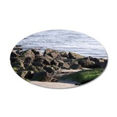 Rocks on the beach 35x21 Oval Wall Decal