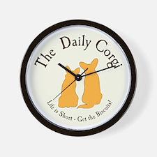 LARGE CIRCULAR daily corgi logo Wall Clock