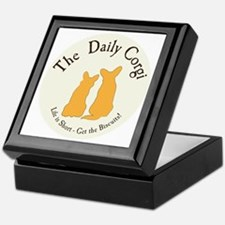 LARGE CIRCULAR daily corgi logo Keepsake Box