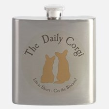 LARGE CIRCULAR daily corgi logo Flask